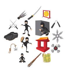 Ninja cartoon icons set vector