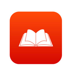 Opened book with pages fluttering icon digital red vector