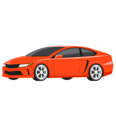 Orange sports car luxury model flat vector