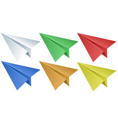 paper airplanes in six colors vector image