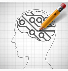 pencil drawing in human head a electronic circuit vector image