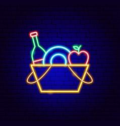 picnic basket neon sign vector image