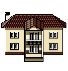 pixel art white modern house isolated vector image