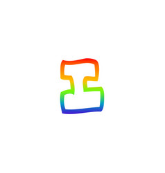 Rainbow gradient line drawing cartoon letter i vector