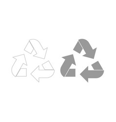 Recycling arrows in a circle the grey color icon vector
