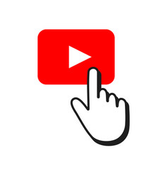 Red button play and hand cursor video player vector