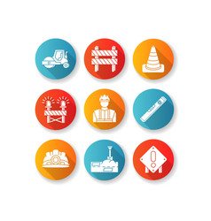 Road works rgb color icons set traffic cone road vector