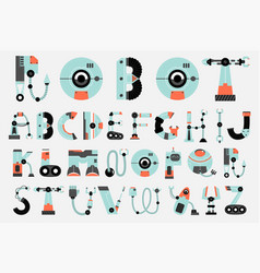 Robot font collection flat design vector