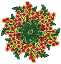 Rustic radial floral ornament vector image
