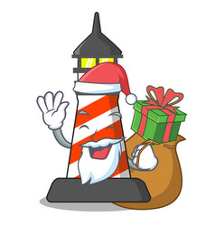 santa with gift classic cartoon lighthouse of red vector image