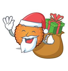 santa with gift cookies mascot cartoon style vector image