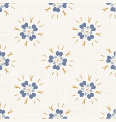 Seamless daisy pattern in french blue linen shabby vector