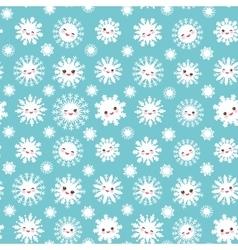 seamless pattern Kawaii snowflake set white funny vector image