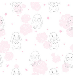 Seamless pattern with cartoon bunnies for kids vector