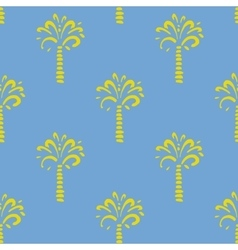 seamless pattern with palm on blue vector image