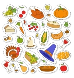 set cute thanksgiving icons vector image