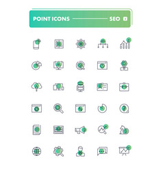 set of 30 line icons seo and smm vector image