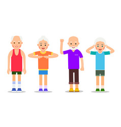 set of active older people old men and women in vector image