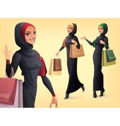 Set of beautiful muslim woman in different vector