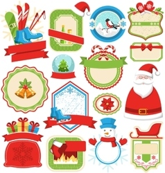 Set of Christmas Winter Lables Icons Flat vector