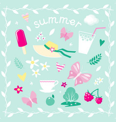 set of elements on the theme of summer vector image