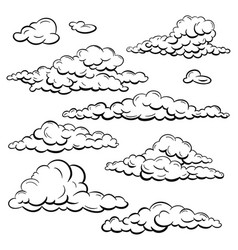 Set sketch clouds vector