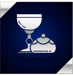 Silver jewish goblet and hanukkah sufganiyot icon vector