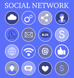social network globe set icons vector image
