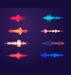 Sound waves set in different colors amplitude vector