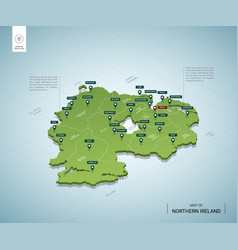 Stylized map northern ireland isometric 3d vector