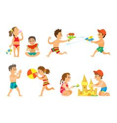 summer vacation kids playing together kids set vector image