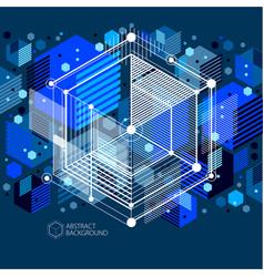 template 3d dark blue design layout for brochure vector image