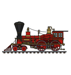 The vintage red american steam locomotive vector