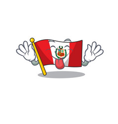 tongue out peru flag stored in character drawer vector image