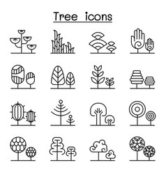 tree icon set in thin line style vector image