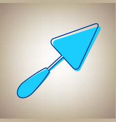 Trowel sign sky blue icon with defected vector
