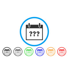 Unknown day calendar page rounded icon vector