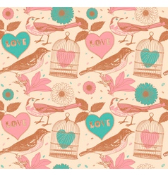 Vintage Love Birds Pattern vector image