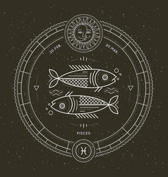 Vintage thin line pisces zodiac sign label retro vector