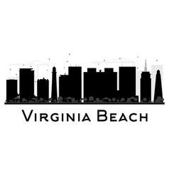 Virginia Beach City skyline black and white vector image