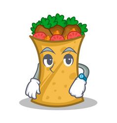 Waiting kebab wrap character cartoon vector
