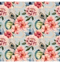 Watercolor flowers pattern vector image