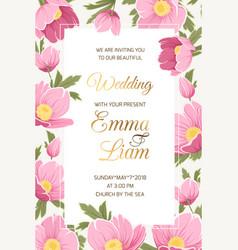 Wedding invitation hellebore anemone poppy flowers vector