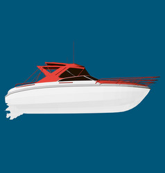 white boat isolated on blue background 3d vector image