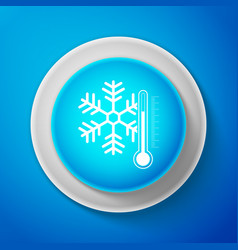 White thermometer with snowflake icon isolated vector