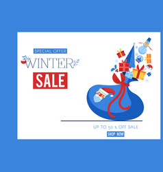 winter sale banner with santa vector image