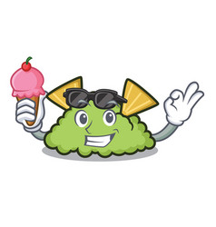with ice cream guacamole character cartoon style vector image