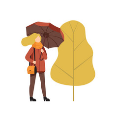 young woman walking with umbrella in autumn vector image