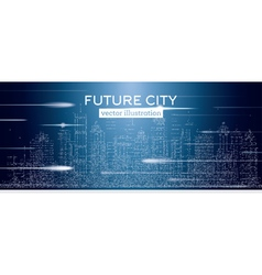Big city with neon skyscrapers vector image