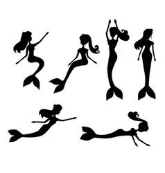cartoon mermaids silhouette vector image vector image